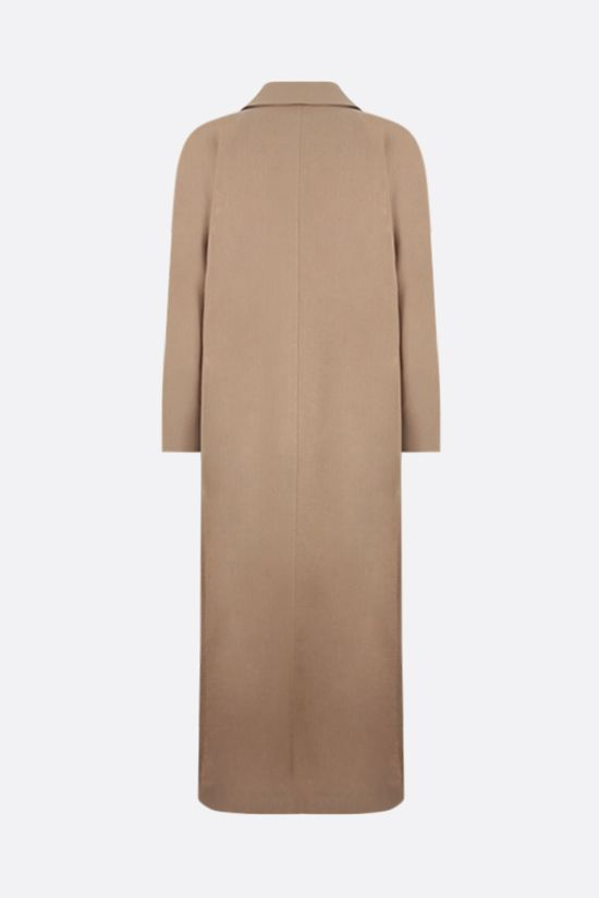 MAX MARA: Alpaca double-breasted linen overcoat Color Brown_2