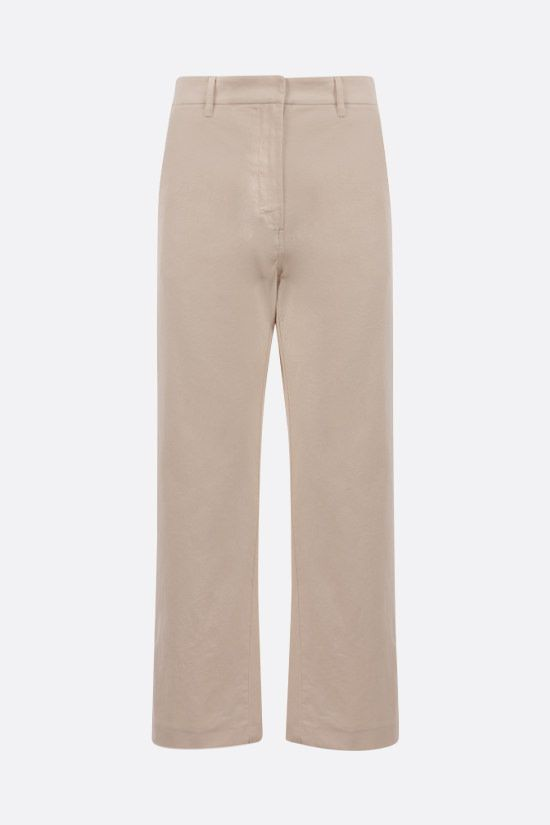 'S MAX MARA: Sesto stretch cotton cropped pants Color Neutral_1