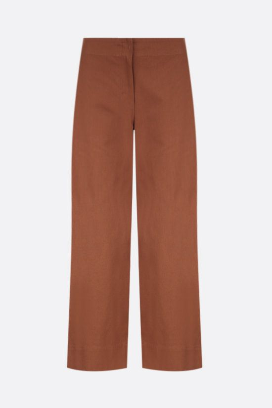 'S MAX MARA: Lonza cotton cropped pants Color Brown_1