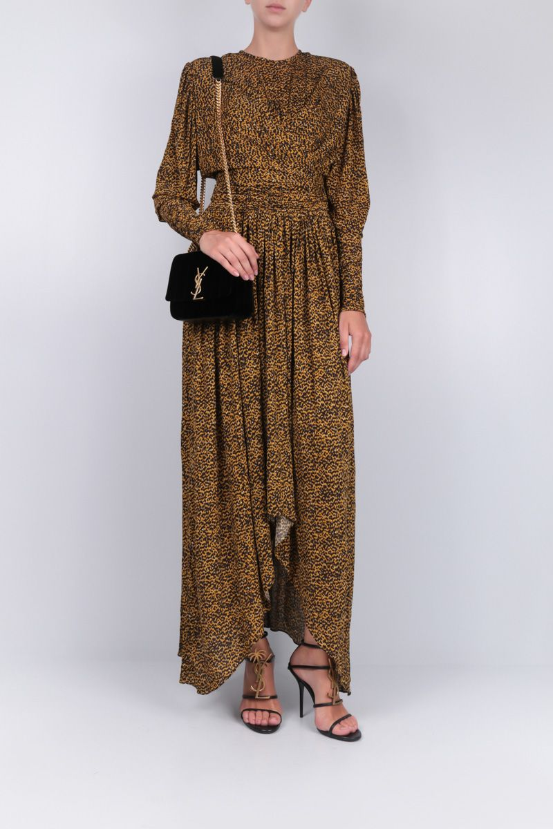 ISABEL MARANT: Jucienne gown in leopard print jersey_2