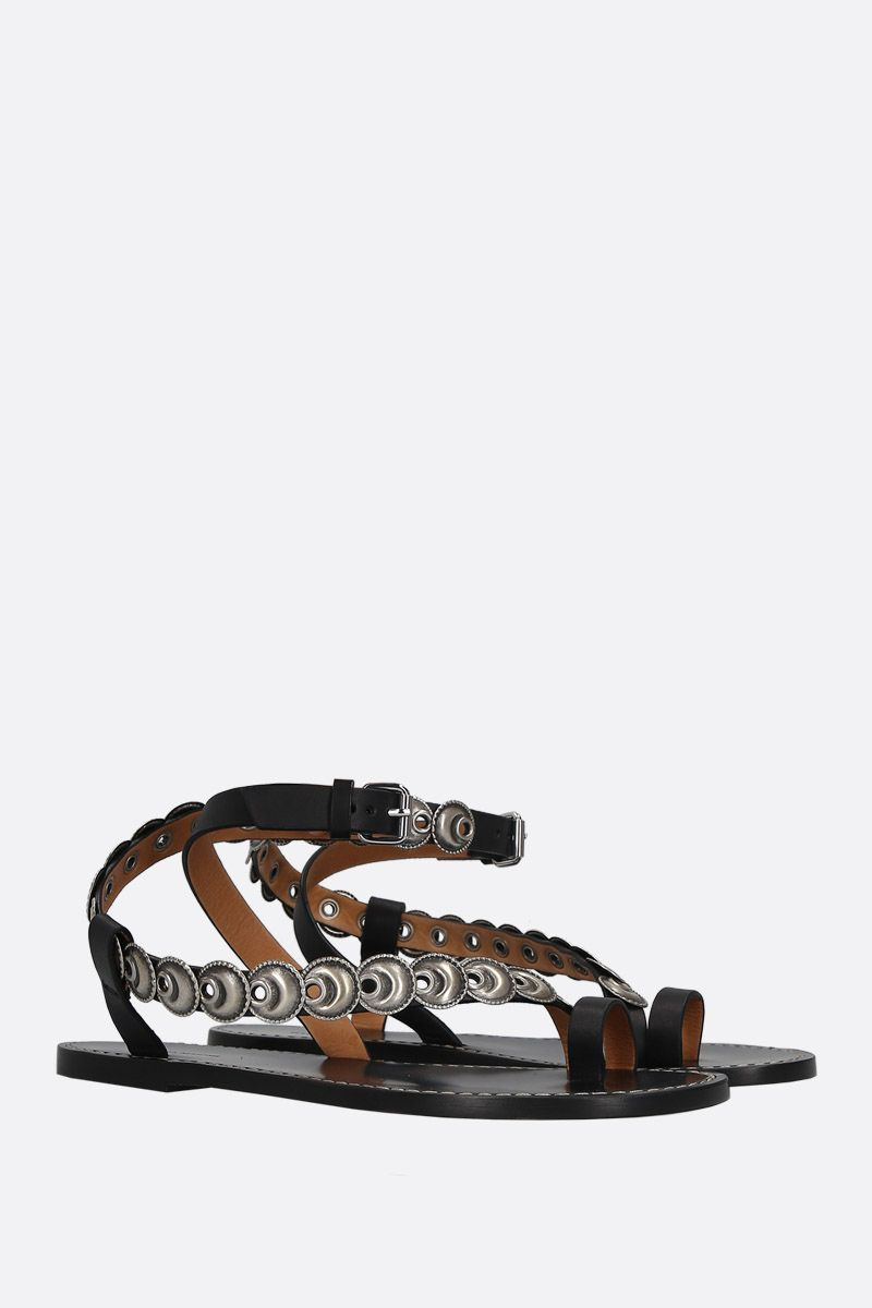ISABEL MARANT: Ermony thong sandals in smooth leather Color Black_2