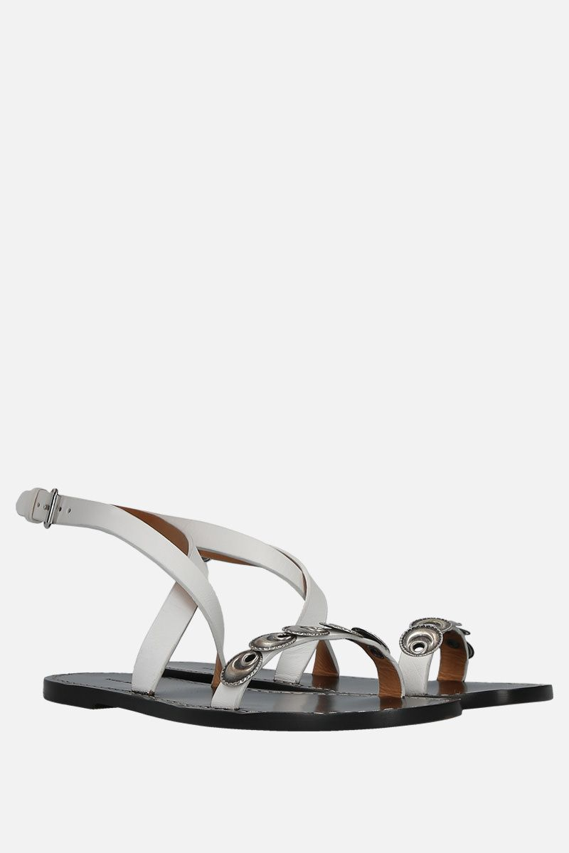 ISABEL MARANT: Eldory flat sandals in smooth leather Color White_2