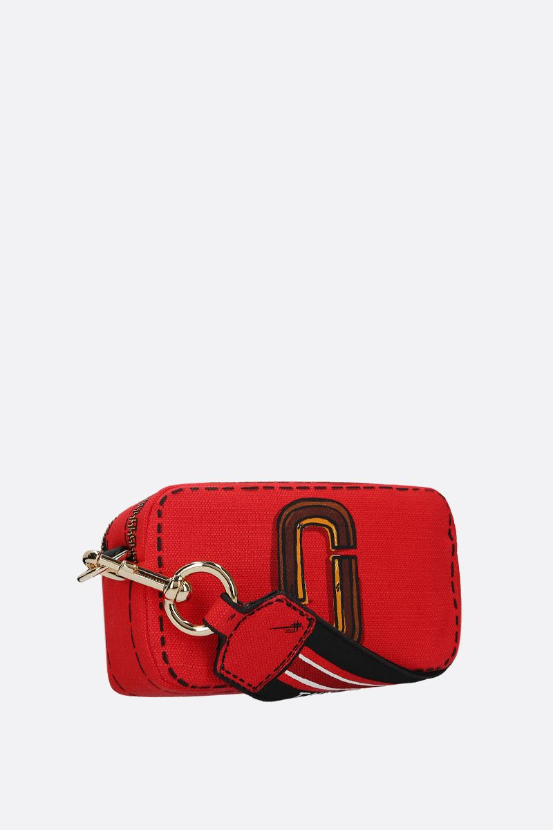 MARC JACOBS: Snapshot Trompe L'oeil crossbody bag in canvas Color Red_2
