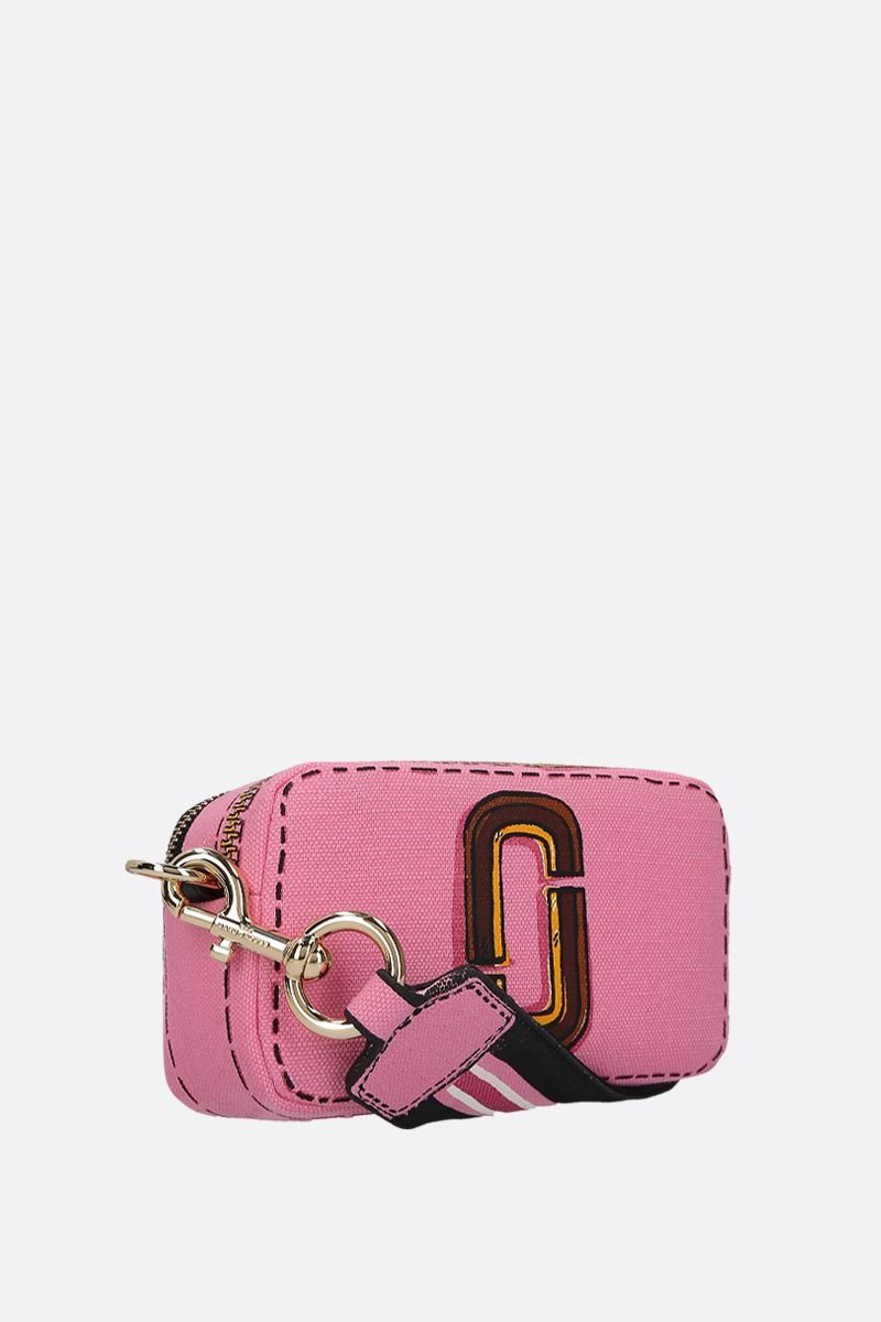 MARC JACOBS: Snapshot Trompe L'oeil crossbody bag in canvas Color Pink_2