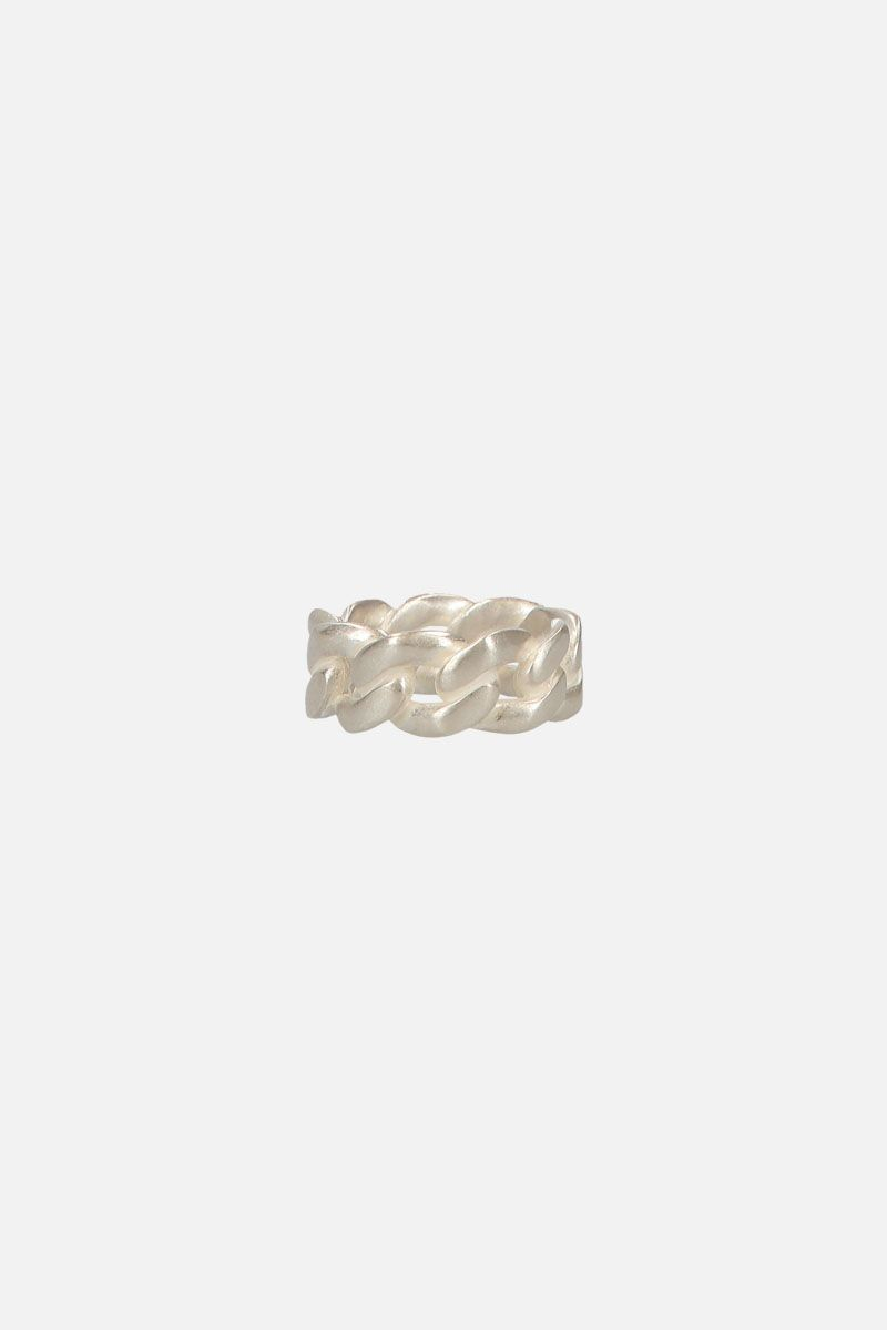 MAISON MARGIELA: silver curb chain ring Color Silver_1