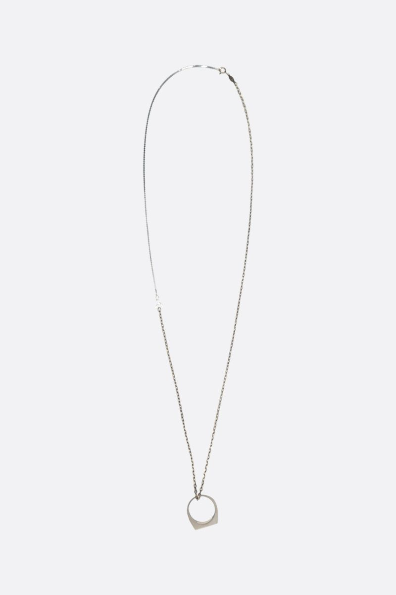 MAISON MARGIELA: ring pendant silver necklace Color Silver_1
