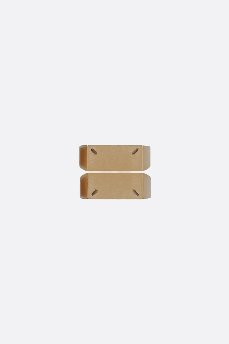 MAISON MARGIELA: signature-detailed sterling silver twin stakable ring Color Gold_1