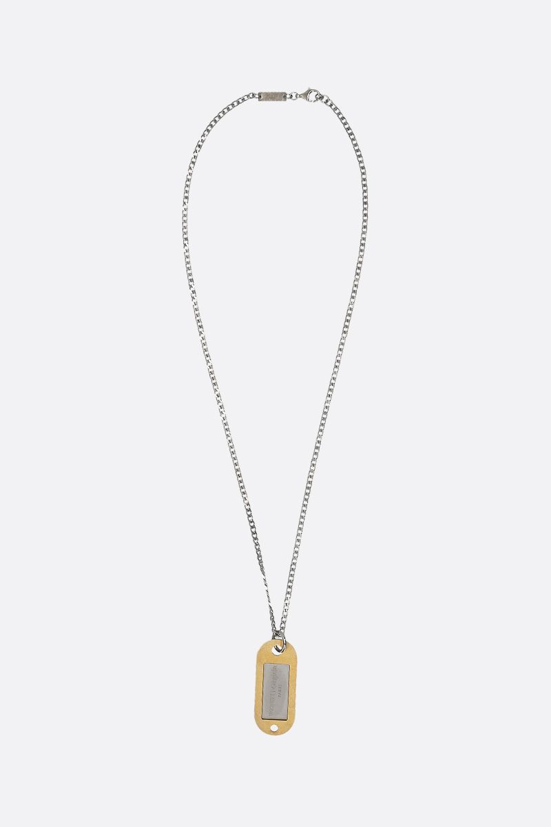 MAISON MARGIELA: logo pendant-detailed sterling silver chain necklace Color Gold_1