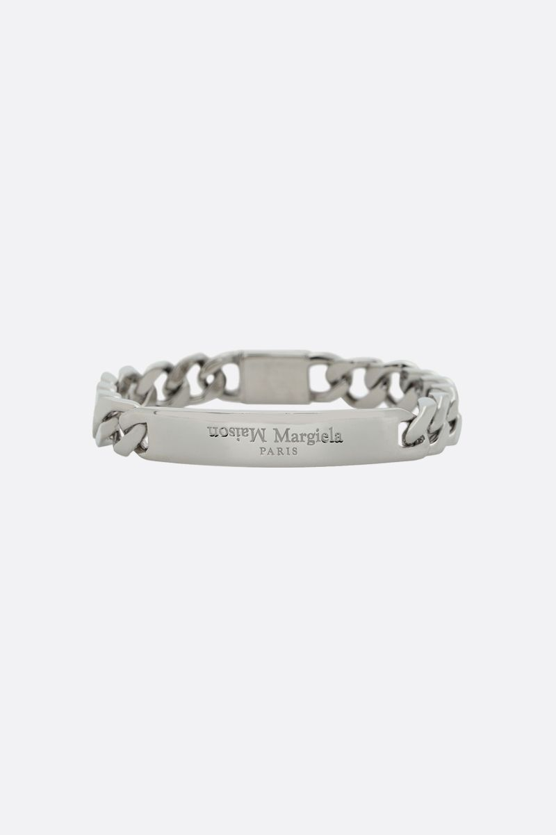 MAISON MARGIELA: logo engraved sterling silver chain bracelet Color Silver_1