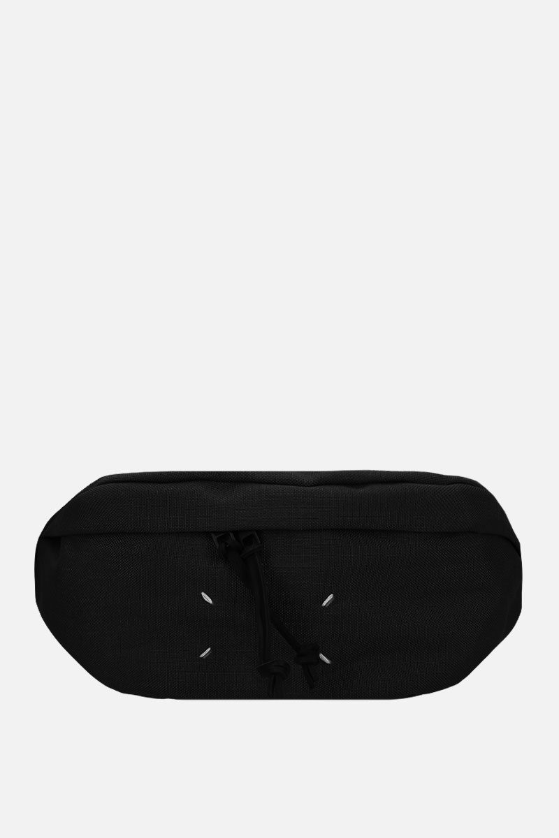 MAISON MARGIELA: marsupio in nylon con porta badge Colore Nero_1