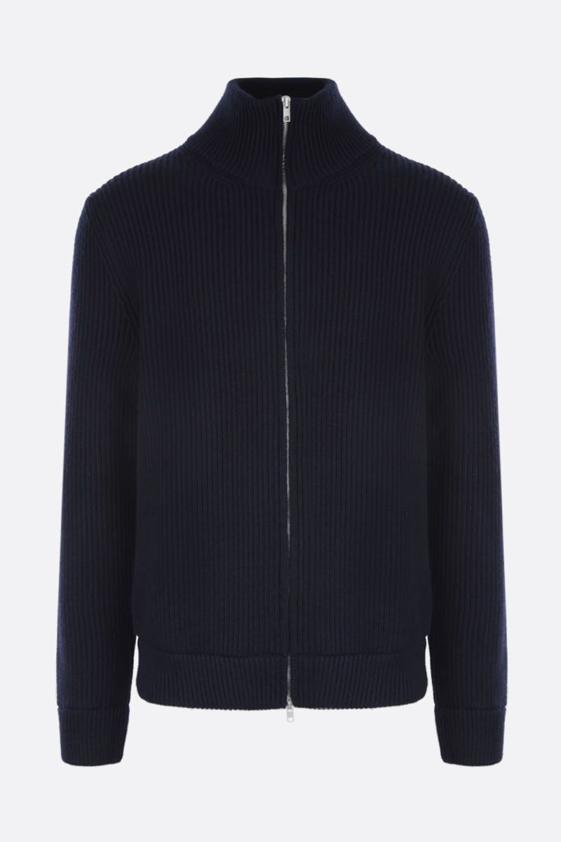 MAISON MARGIELA: rib wool full-zip pullover Color Blue_1