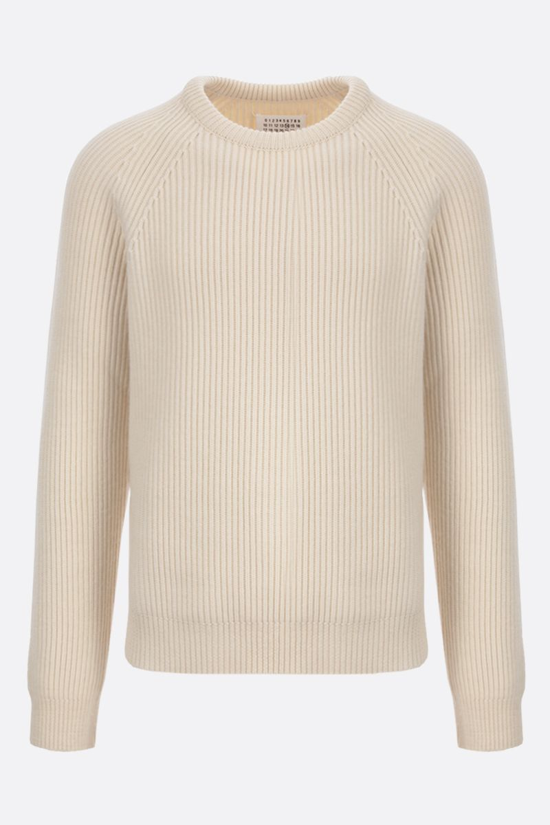 MAISON MARGIELA: ribbed wool pullover Color White_1