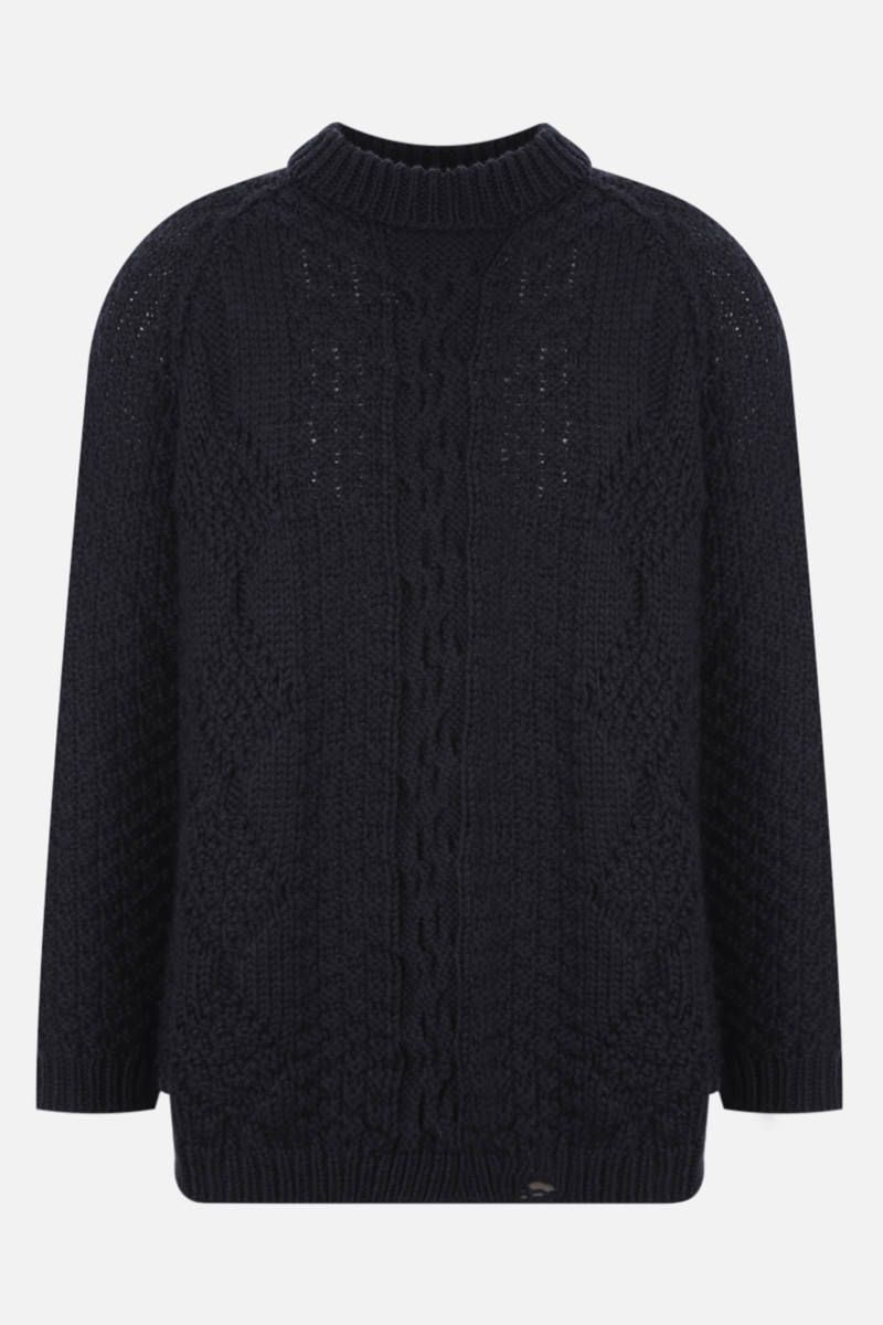 MAISON MARGIELA: wool pullover with decorative holes Color Blue_1