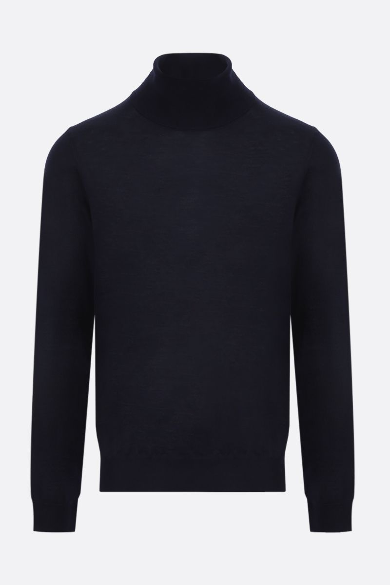 MAISON MARGIELA: piping-detailed combed wool turtleneck Color Blue_1