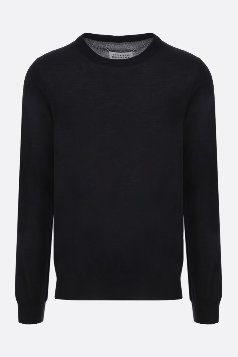 MAISON MARGIELA: pullover in lana pettinata con bordi a contrasto Colore Nero_1