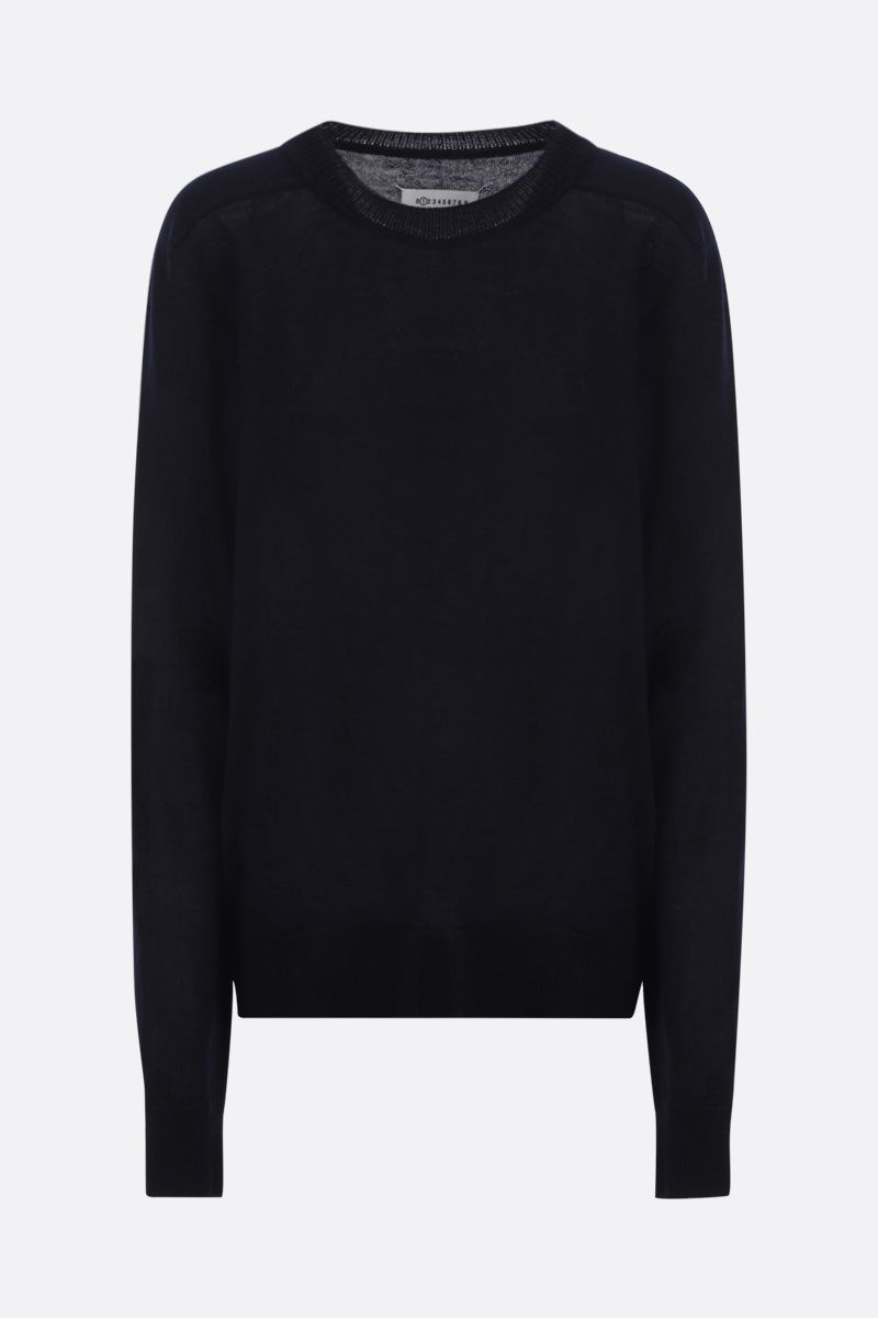 MAISON MARGIELA: pullover in lana con patches Colore Blue_1
