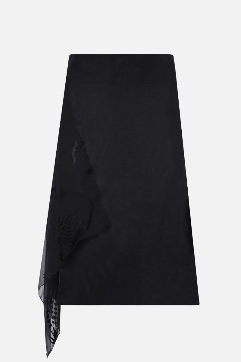 MARINE SERRE: Moon embroidered satin asymmetric skirt Color Black_1