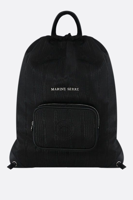 MARINE SERRE: textured technical canvas drawstring backpack Color Black_1