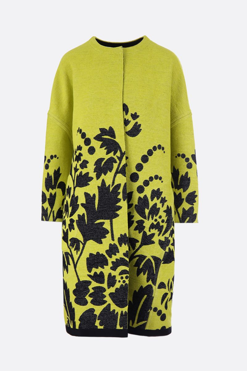 MARIT ILISON: LFS Reversible coat in floral jacquard_1