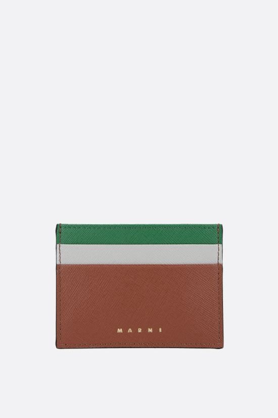 MARNI: saffiano leather card case Color Brown_1