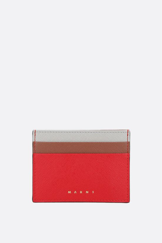 MARNI: saffiano leather card case Color Orange_1