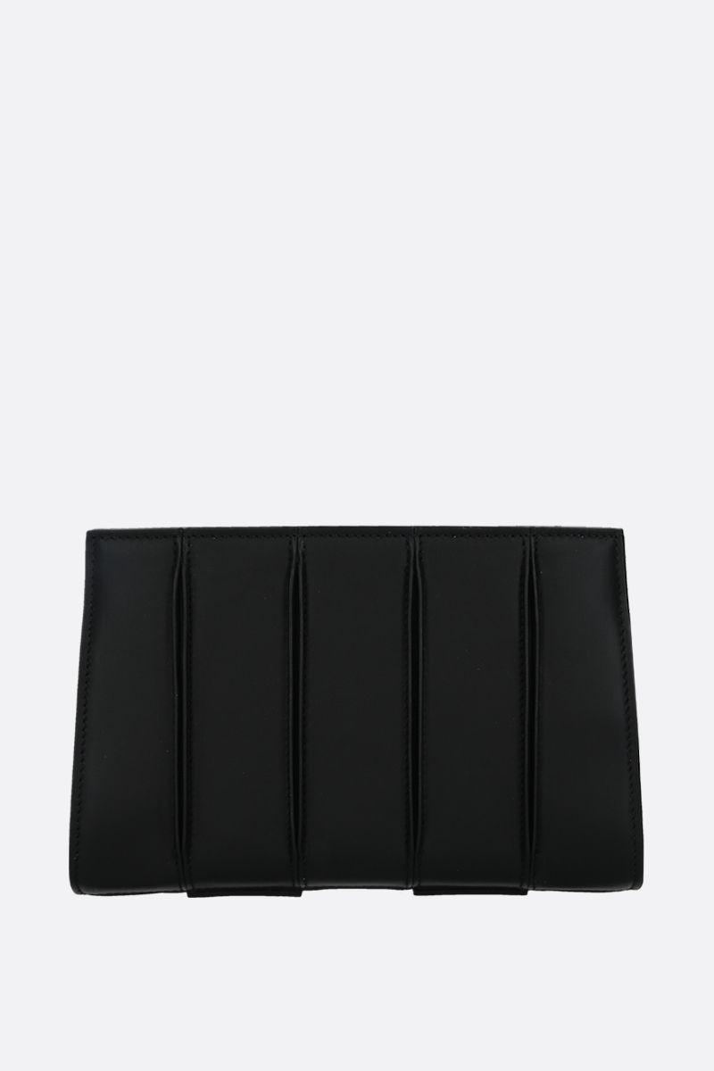 MAX MARA: Whitney smooth leather strap clutch Color Black_1