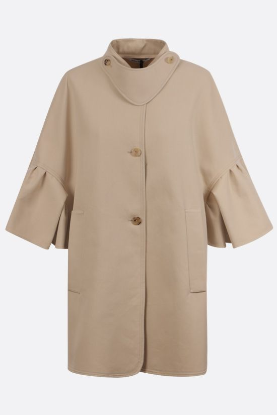 MAX MARA: Derris single-breasted cotton cape Color Neutral_1