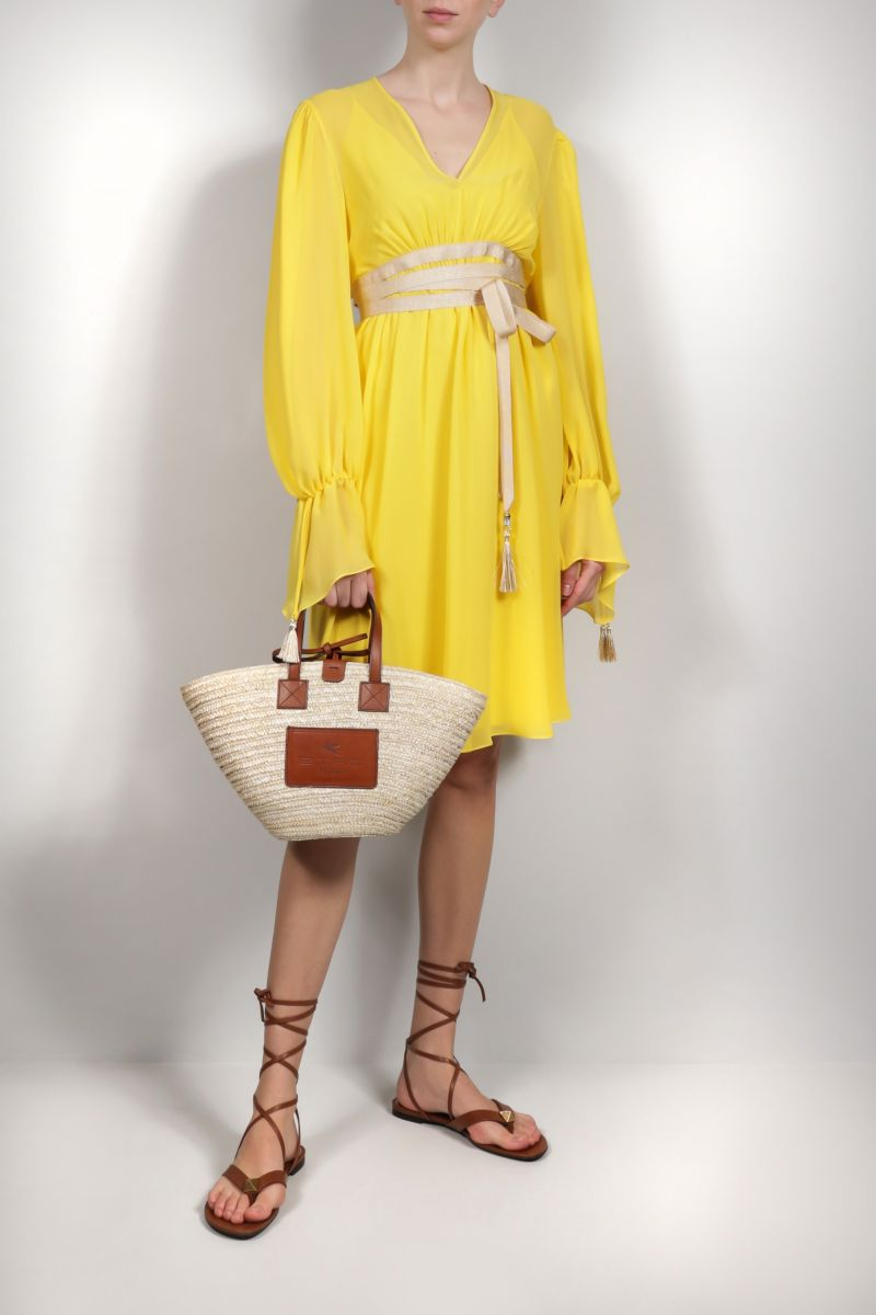 MAX MARA: Damien silk georgette midi dress Color Yellow_2
