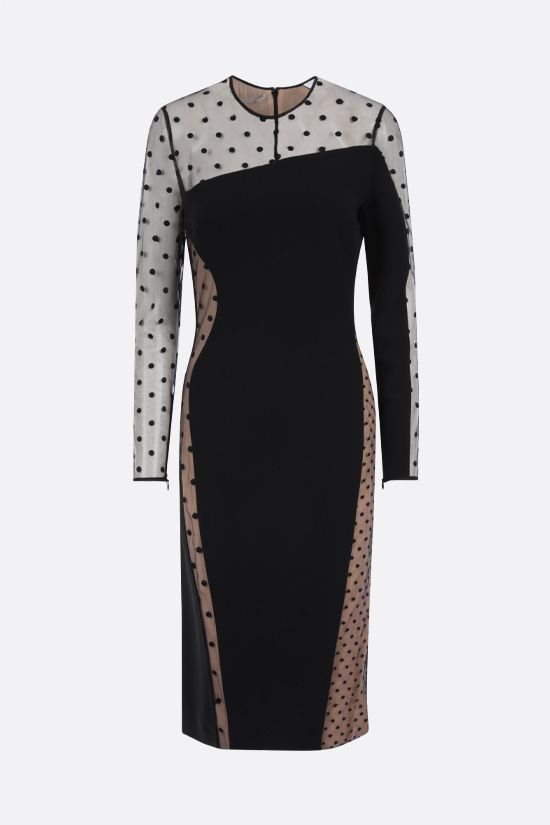 STELLA McCARTNEY: Arielle stretch cady and plumetis tulle midi dress Color Black_1