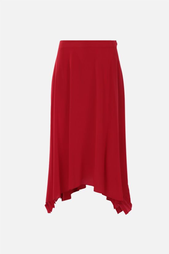 STELLA McCARTNEY: pleated rouche-detailed silk midi skirt Color Red_1