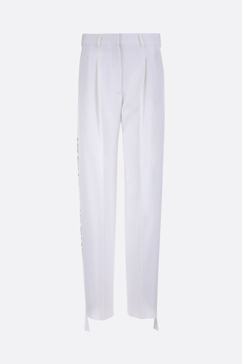 STELLA McCARTNEY: embroidered band-detailed wool darted pants Color White_1