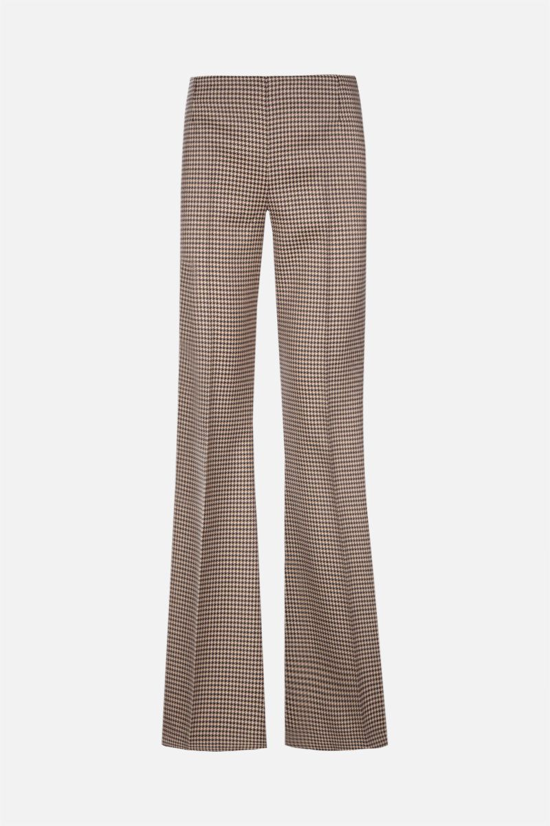 STELLA McCARTNEY: Mona houndstooth wool flared pants Color Brown_1