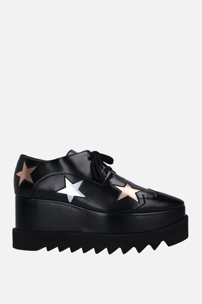 STELLA McCARTNEY: Elyse derby shoes in Alter Nappa with stars intarsia Color Black_1