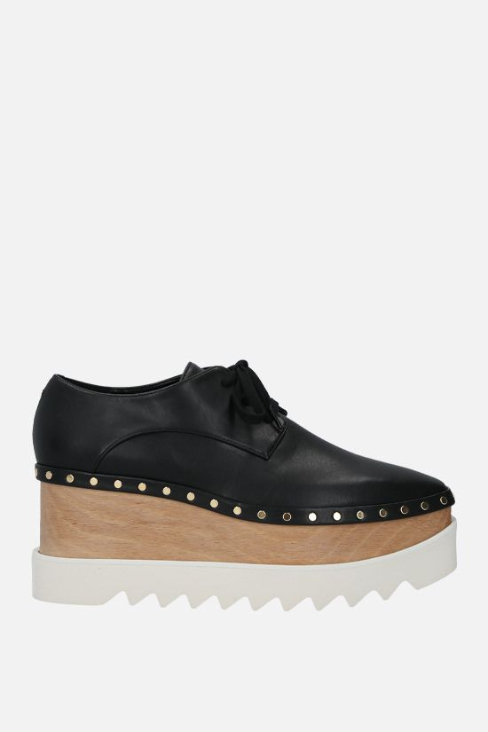 STELLA McCARTNEY: Elyse derby shoes in studded Alter Nappa Color Black_1