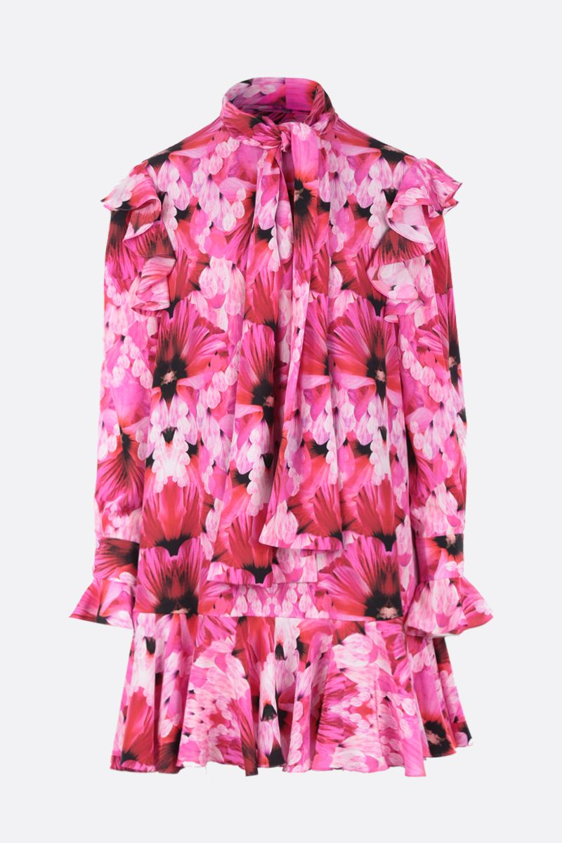 ALEXANDER McQUEEN: Exotic Floral print silk short dress Color Pink_1