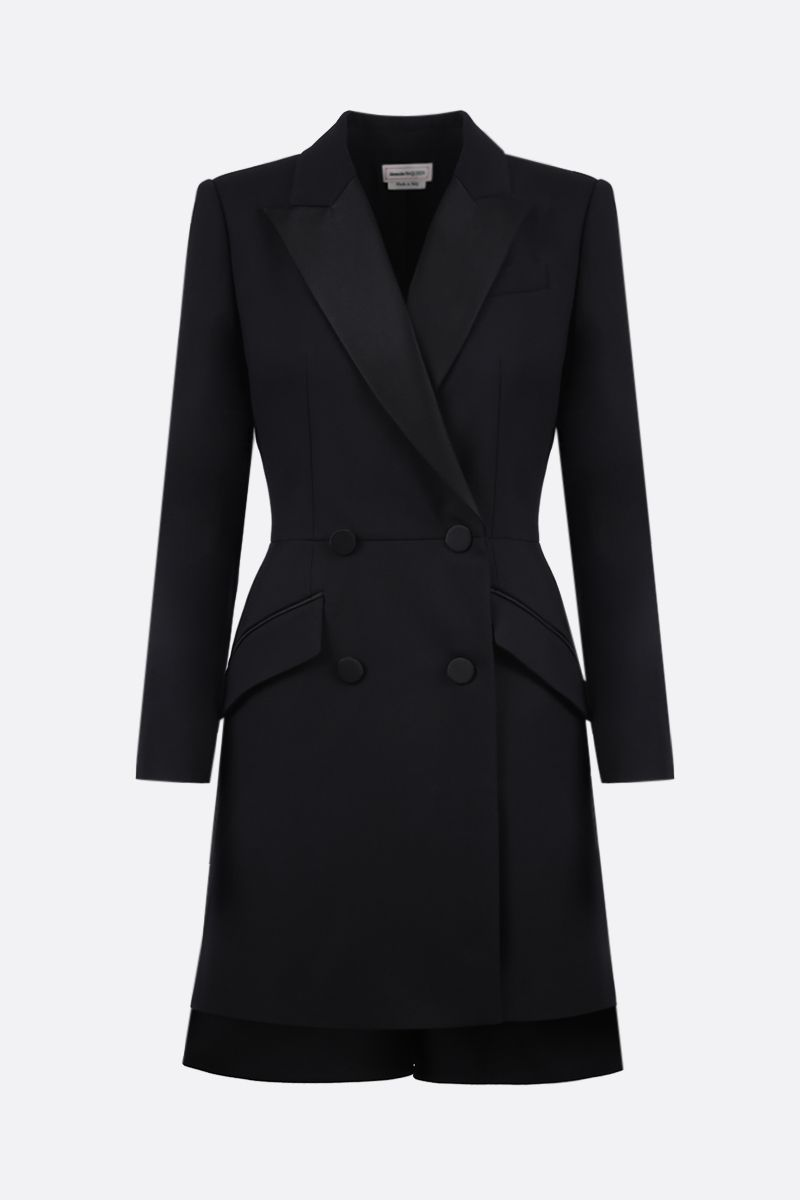 ALEXANDER McQUEEN: wool silk blend souble-breasted blazer-dress Color Black_1