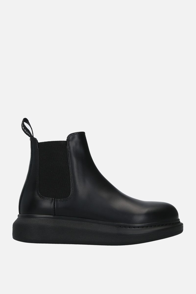 ALEXANDER McQUEEN: Hybrid brushed leather chelsea boots Color Black_1
