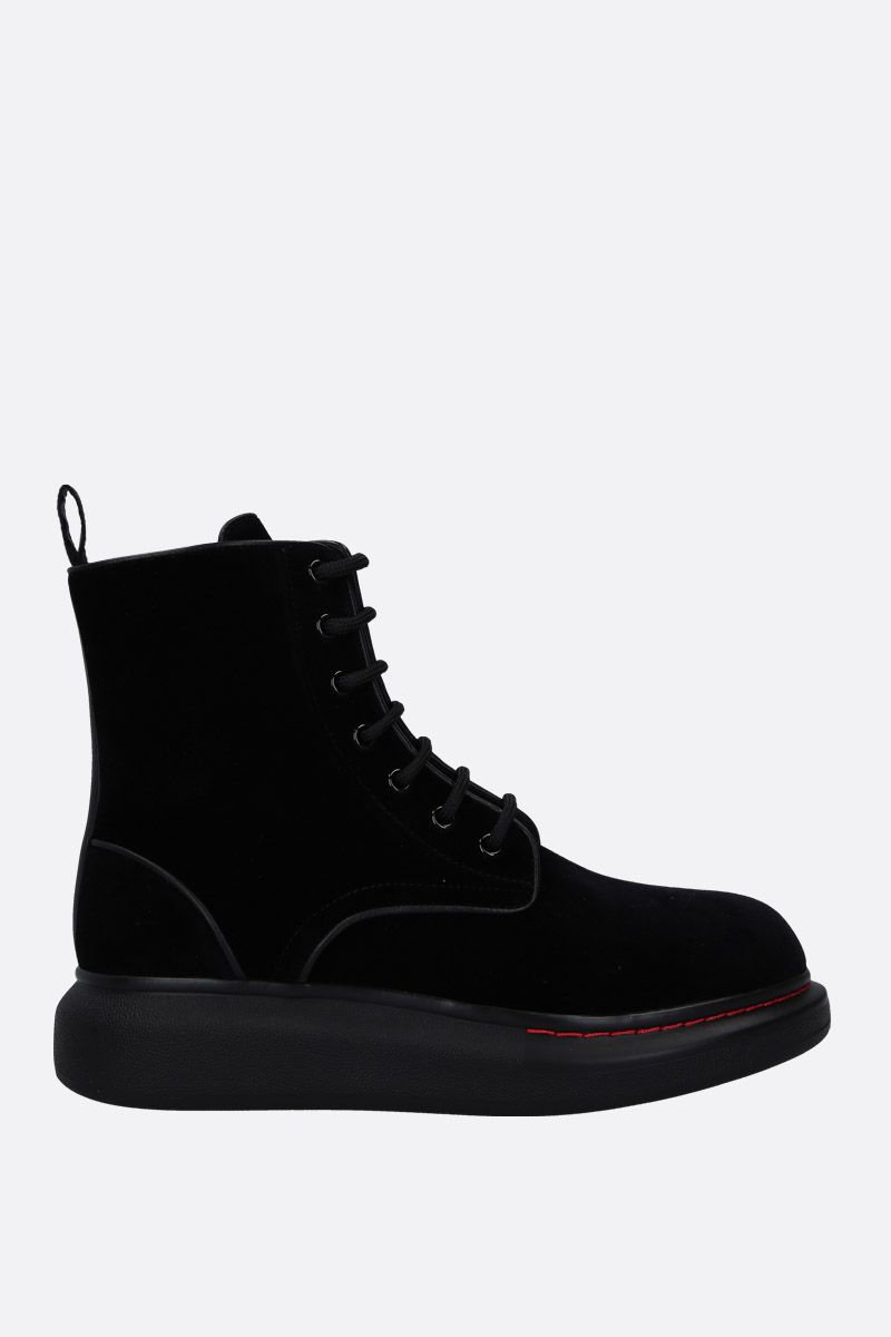 ALEXANDER McQUEEN: Hybrid velvet ankle boots with leather details Color Black_1