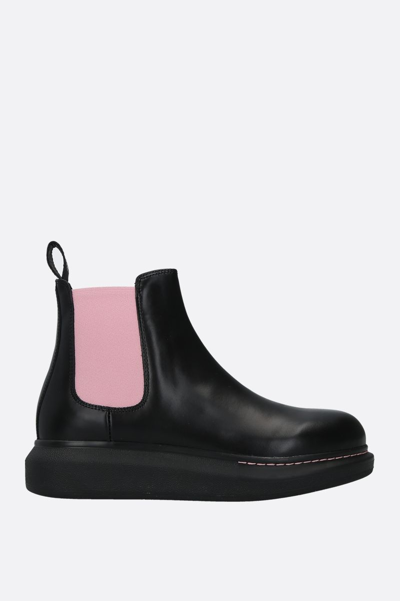 ALEXANDER McQUEEN: Hybrid smooth leather chelsea boots Color Black_1