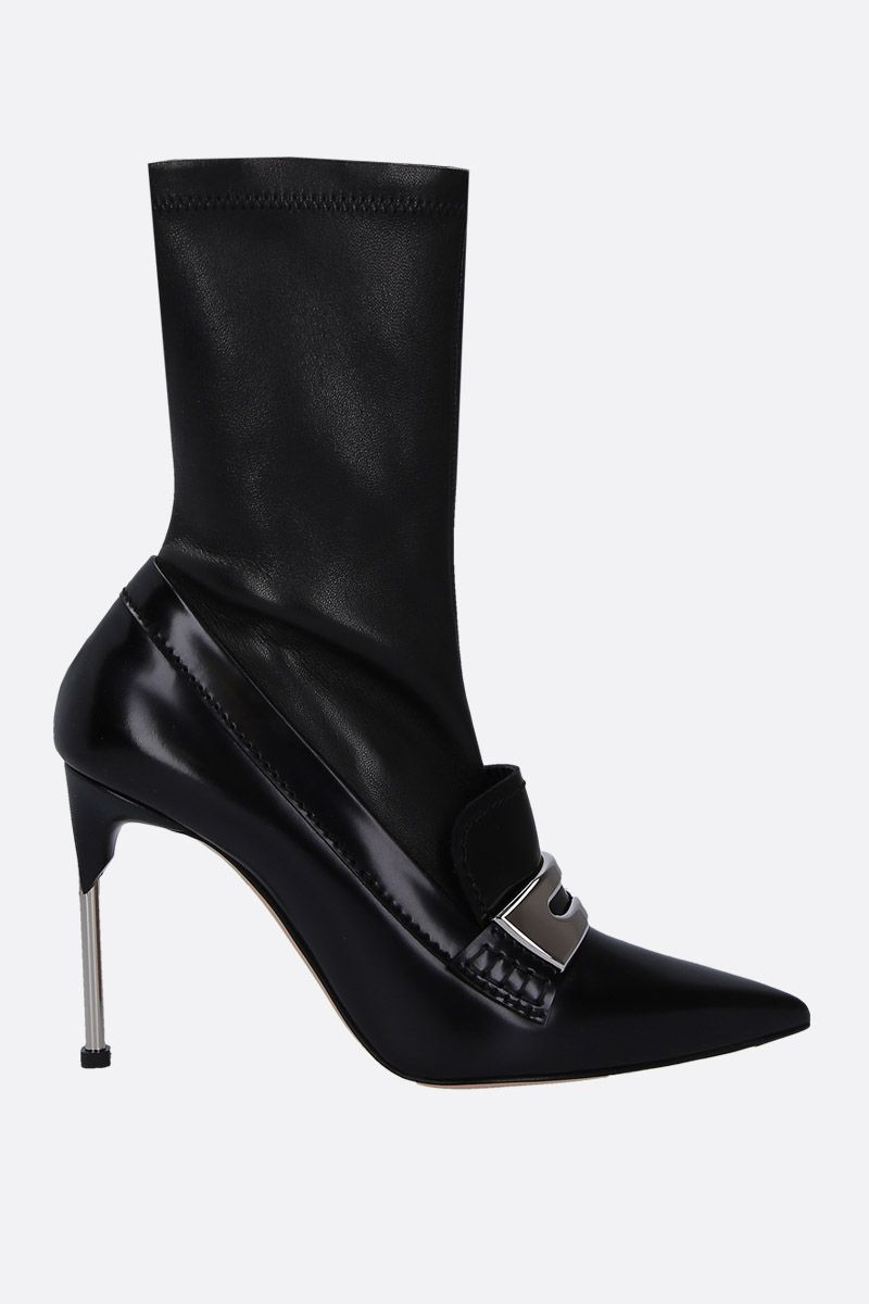 ALEXANDER McQUEEN: shiny leather and stretch nappa mocassin boots Color Black_1