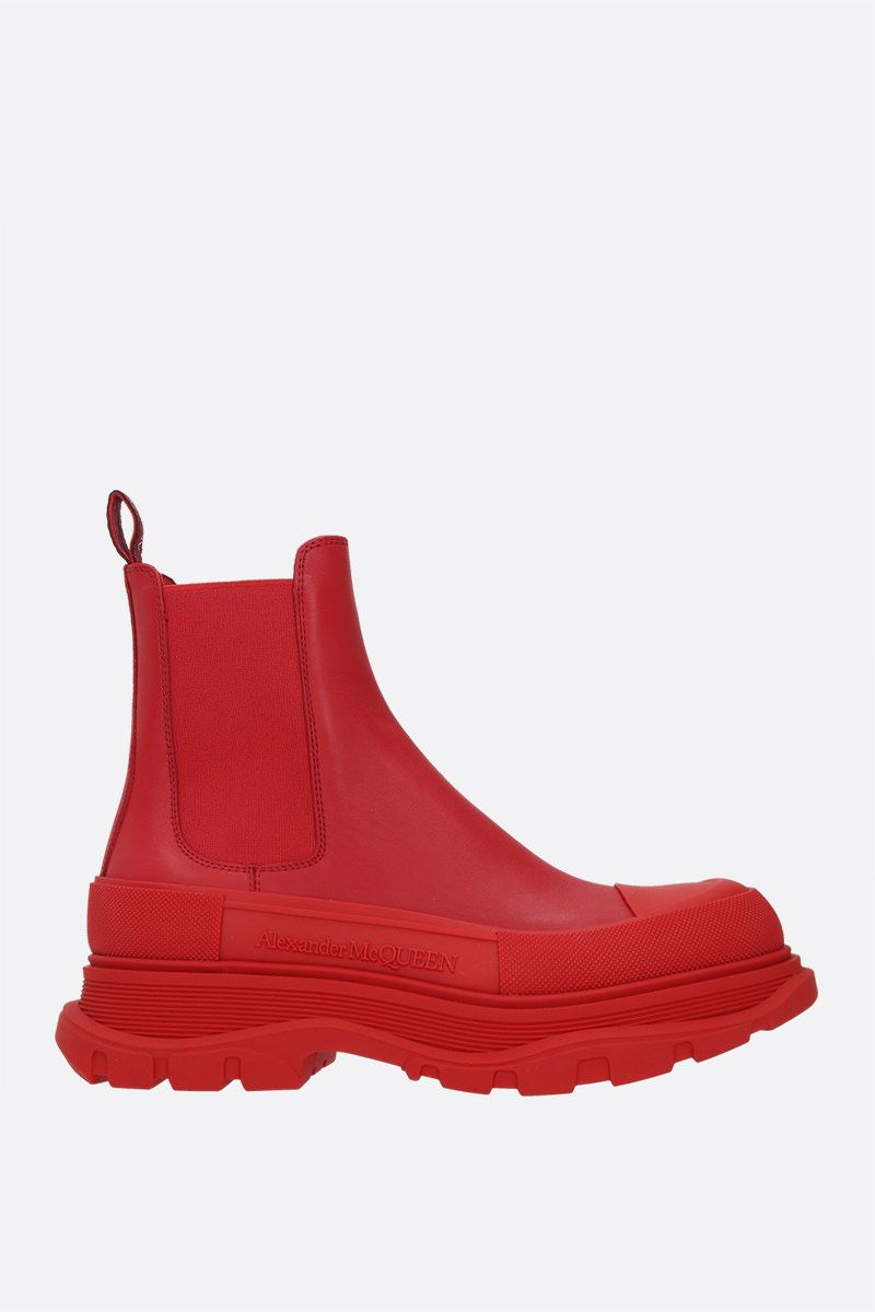 ALEXANDER McQUEEN: Tread smooth leather chelsea boots Color Red_1