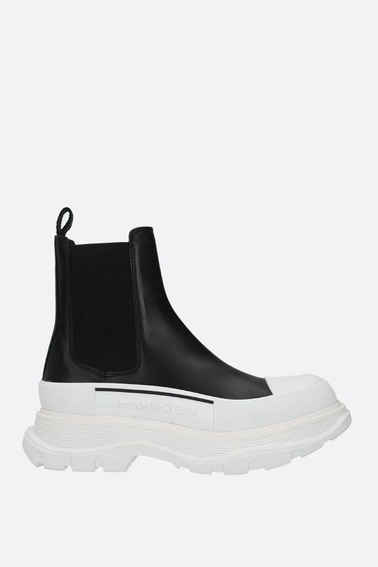 ALEXANDER McQUEEN: Tread smooth leather chelsea boots Color Black_1