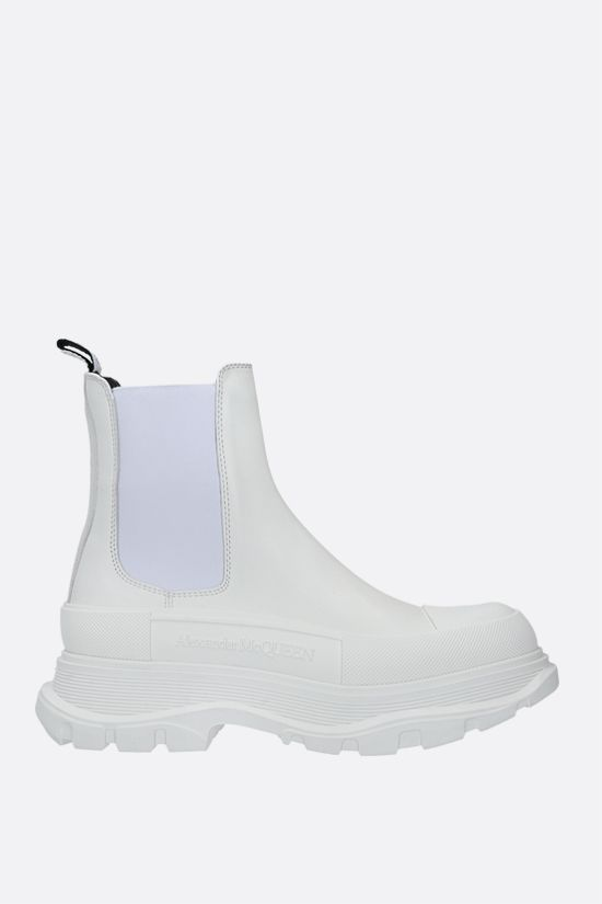 ALEXANDER McQUEEN: Tread smooth leather chelsea boots Color White_1