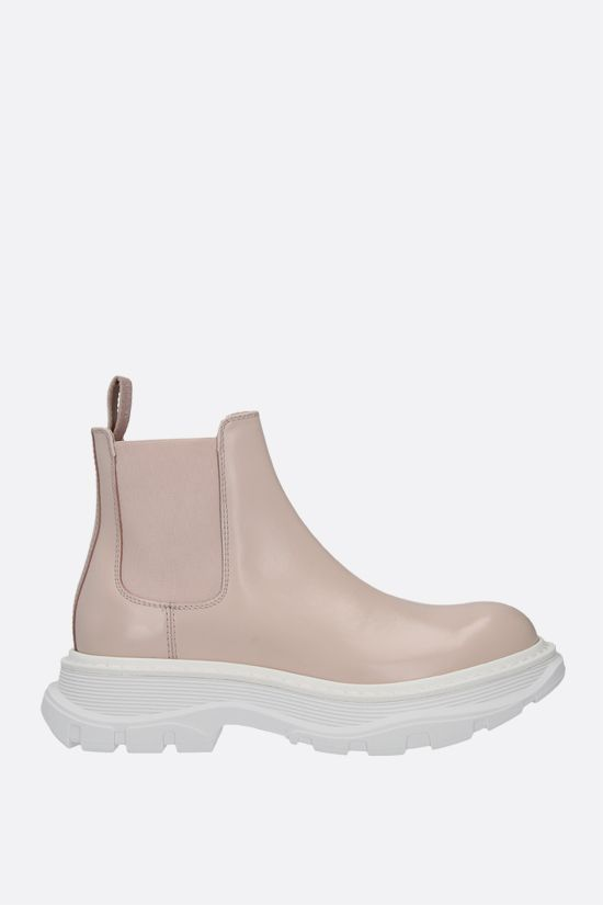 ALEXANDER McQUEEN: Tread brushed leather chelsea boots Color Pink_1