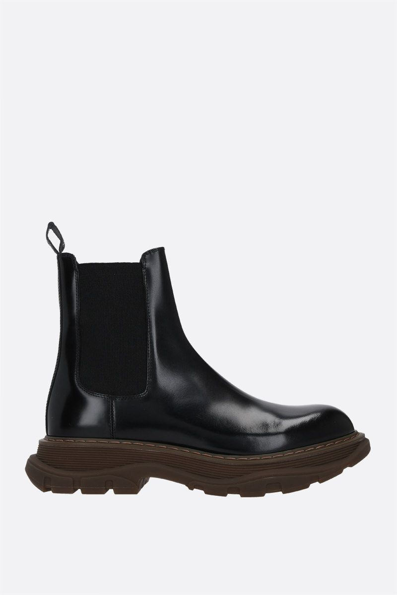 ALEXANDER McQUEEN: brushed leather chelsea boots Color Black_1