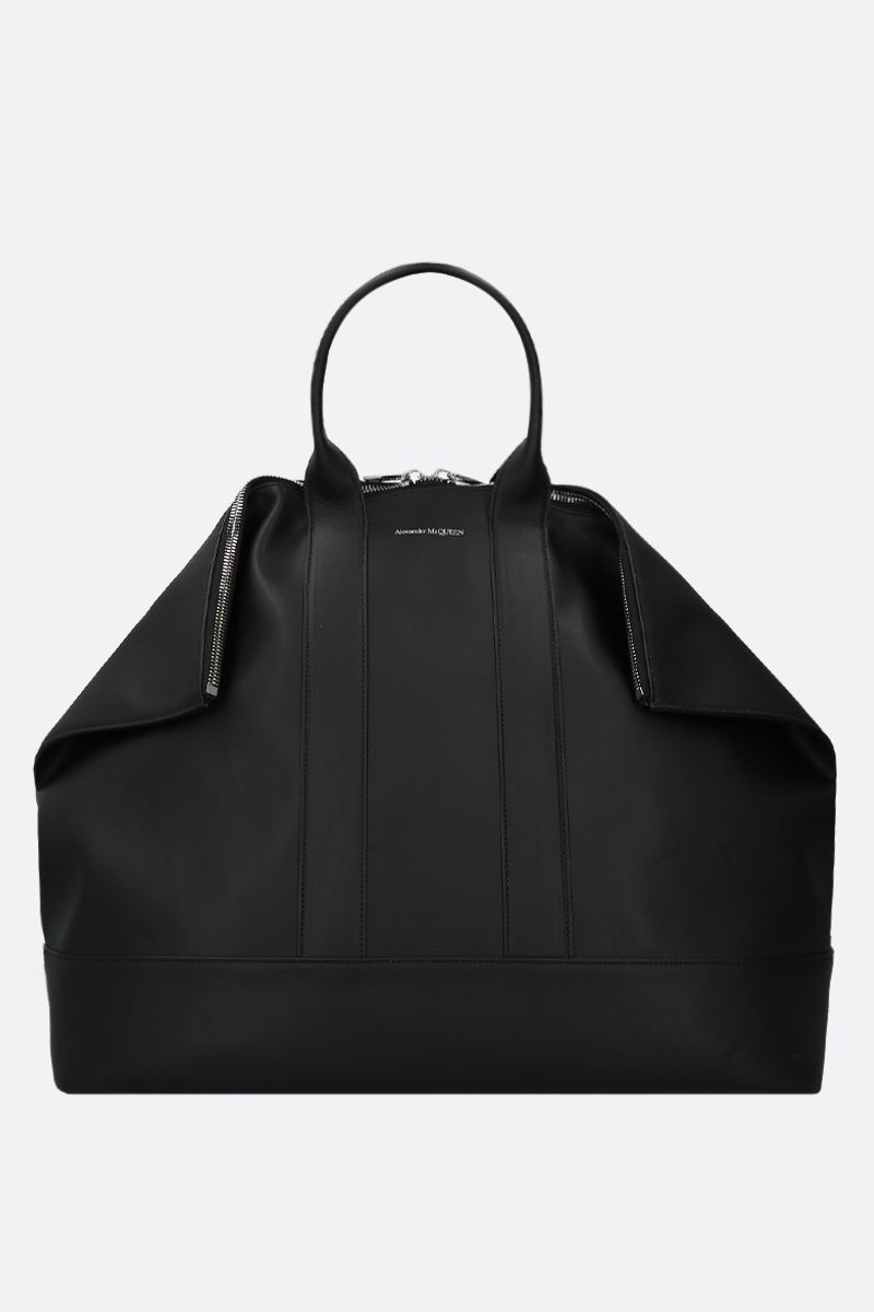 ALEXANDER McQUEEN: De Manta smooth leather tote bag Color Black_1