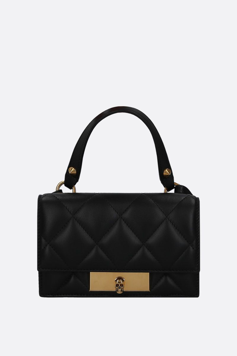 ALEXANDER McQUEEN: quilted nappa Skull-lock bag Color Black_1