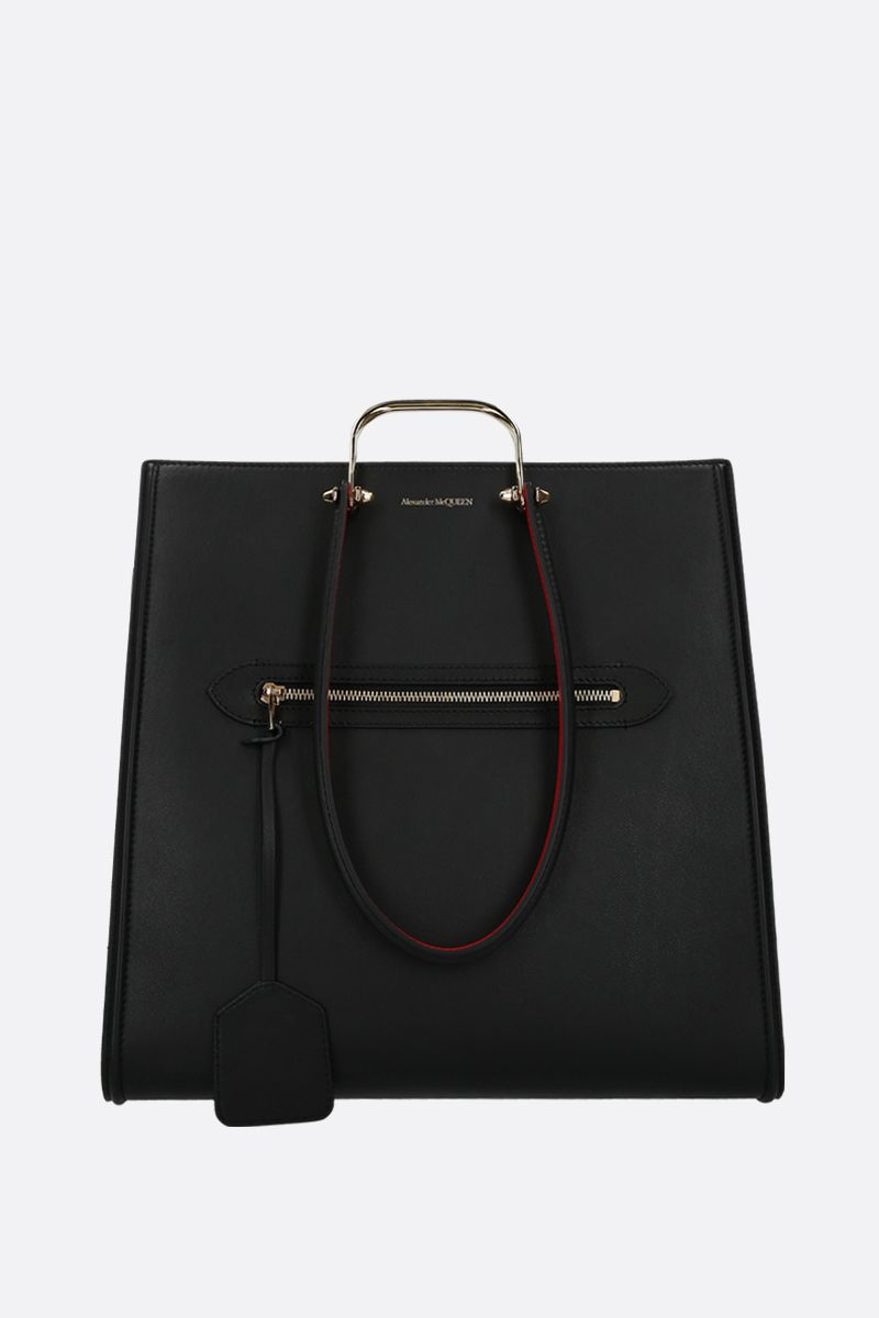 ALEXANDER McQUEEN: The Tall Story tote bag in smooth leather Color Black_1