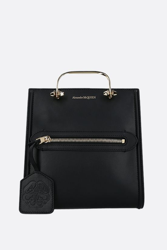 ALEXANDER McQUEEN: The Short Story smooth leather handbag Color Black_1