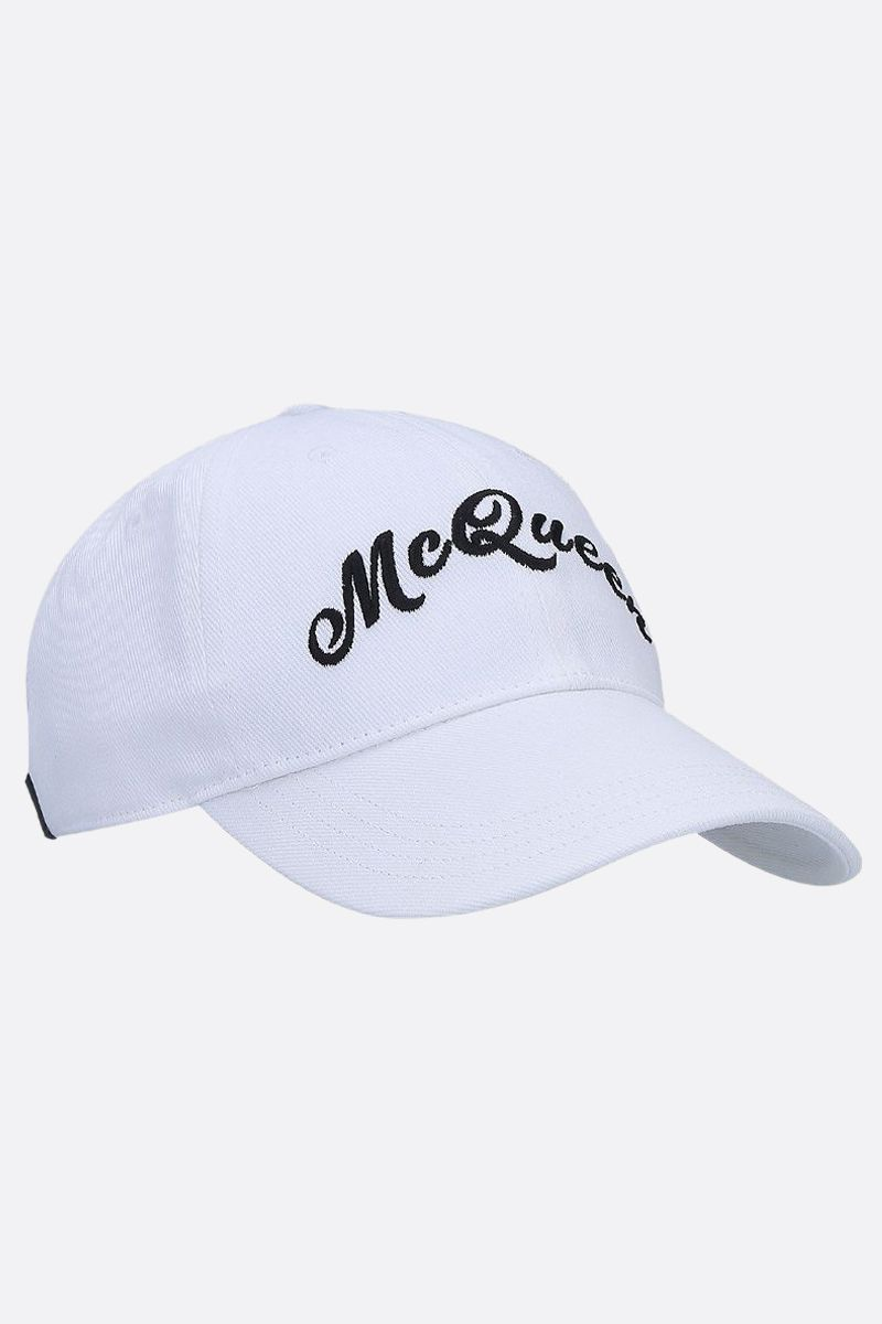 ALEXANDER McQUEEN: McQueenn embroidered cotton baseball cap Color White_2